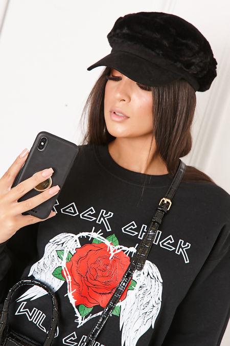 JOY Black Faux Fur Baker Boy Hat