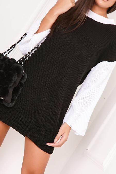 ADAH Black Knitted High Neck Jumper Dress