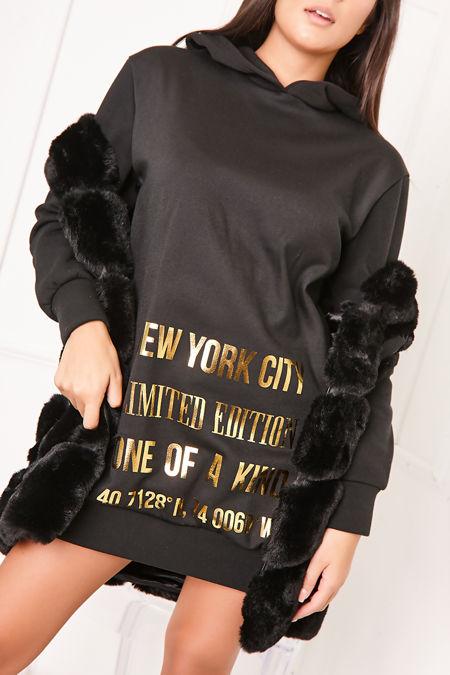 JENA Black New York Metallic Slogan Hoodie