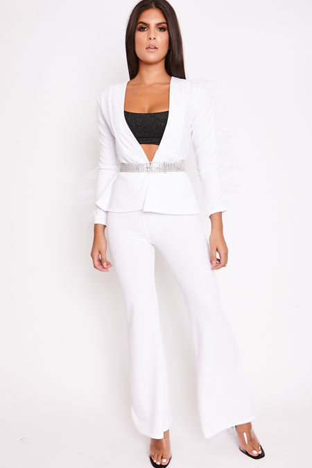PRIYA White Mesh Sleeve Jacket & Flared Trouser Set