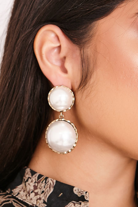 OLIVIA Gold Large Circle Pearl Drop Earrings