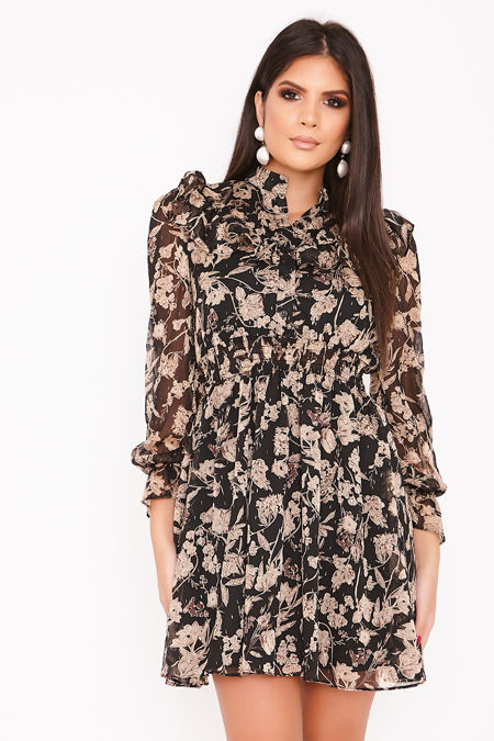 KLAUDIA Black Floral Print Chiffon Frill Dress