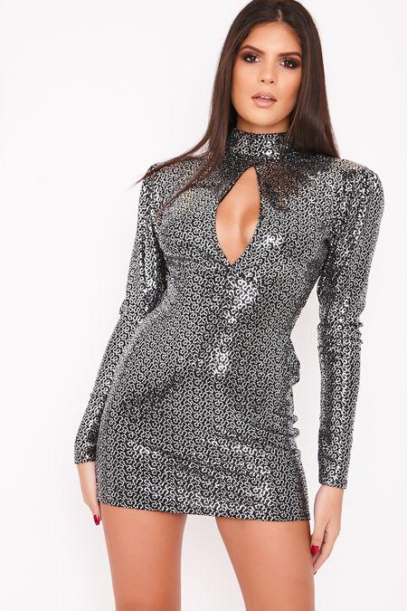 VALENTINA Black Sequin High Neck Blackless Bodycon Dress