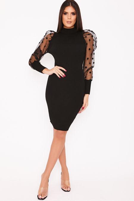 ASHLEE Black Polka Dot Puff Sleeve Midi Jumper Dress