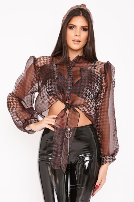 HALLE Dark Brown Cropped Dogtooth Puff Sleeve Shirt
