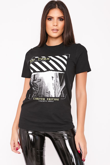KRISTI Black New York Slogan T Shirt