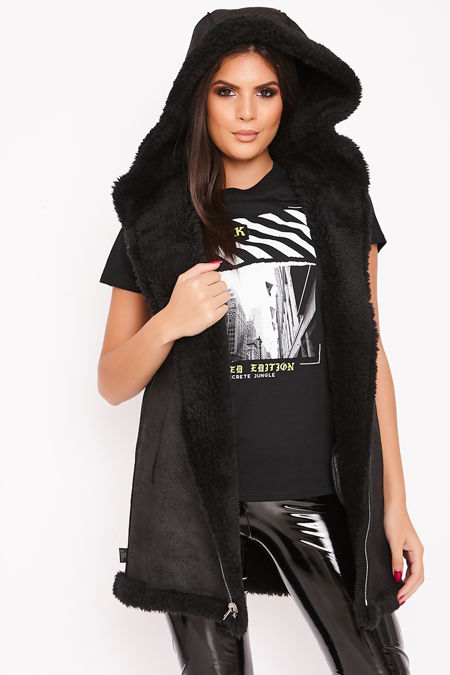 LARA Black Hooded Borj Teddy Gilet