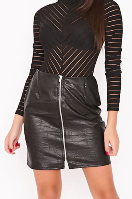 NORA Black Faux Leather Zip Front Mini Skirt
