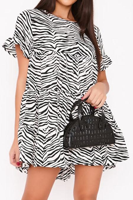 ANDIE Zebra Print Tiered Frill Smock Dress