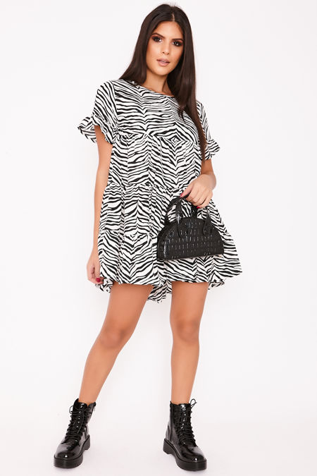 ANDIE Zebra Print Tiered Frill Smock Dress