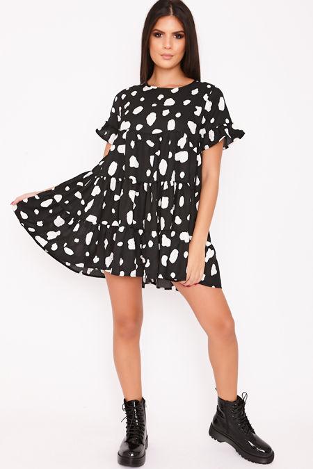 ANDIE Black Dalmatian Tiered Frill Smock Dress
