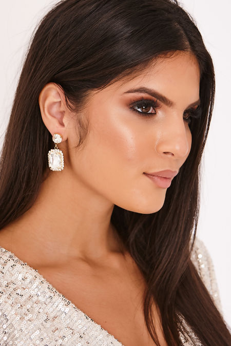 LEXIS Gold Gem Embellished Diamante Rectangle Drop Earrings