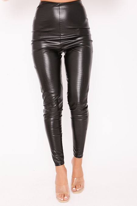KYLIE Black Croc Faux Leather High Waisted Leggings
