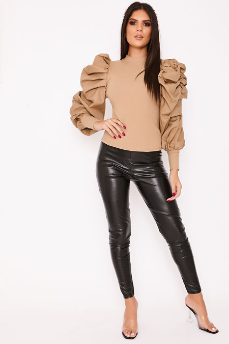 AUTUMN Beige Extreme Puff Sleeve Ribbed Jumper