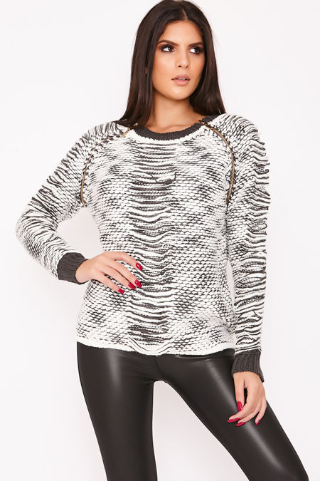 SOFIE Grey Woven Knitted Zip Detail Jumper
