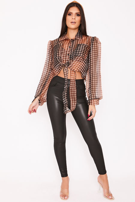 HALLE Brown Cropped Dogtooth Puff Sleeve Shirt