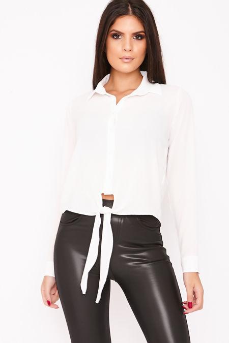 LEONIE White Tie Front Crepe Shirt