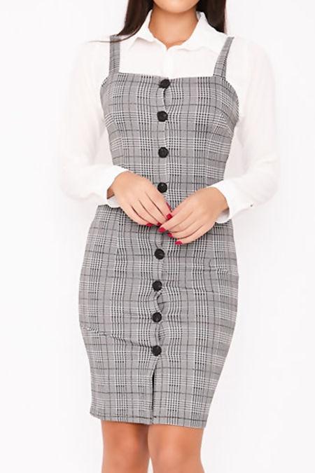 PALOMA Black Checked Button Through Bodycon Dress