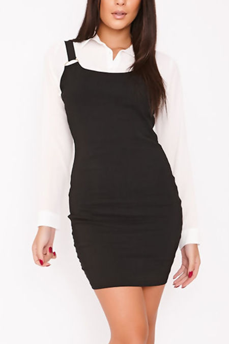 TIA Black D-Ring Scoop Neck Bodycon Dress