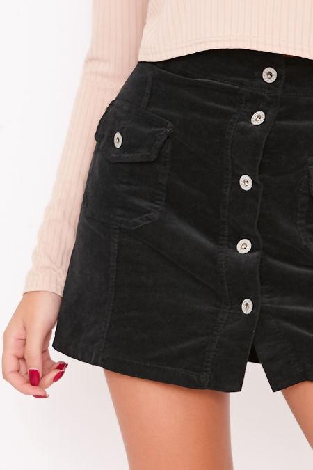 WREN Black Button Through Cord Mini Skirt
