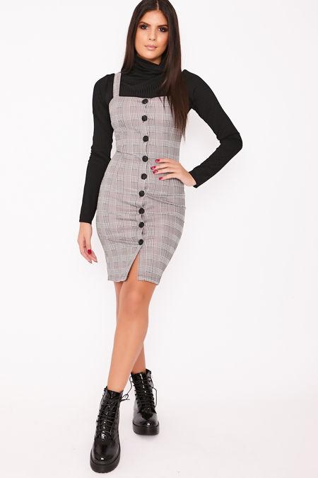 PALOMA Light Grey Checked Button Through Bodycon Dress