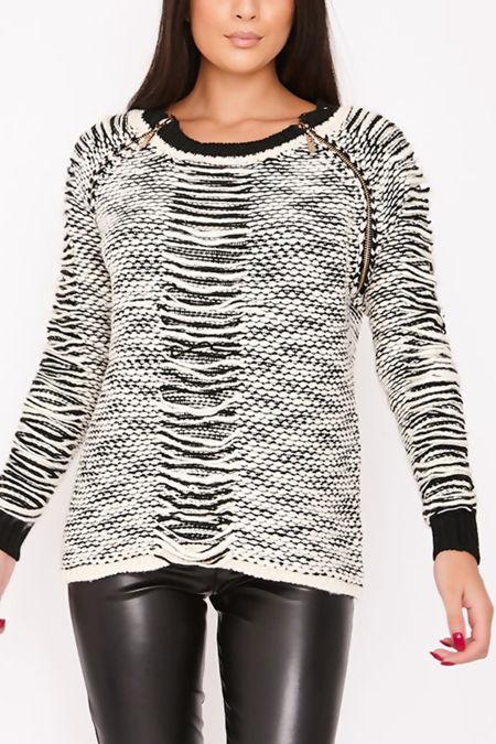 SOFIE Black Woven Knitted Zip Detail Jumper