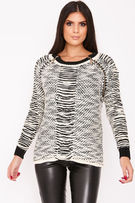 SOFIE Black Woven Knitted Zip Detail Jumper