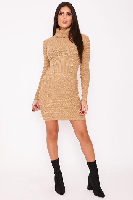 KIMMIE Camel Knitted Roll Neck Button Detail Jumper Dress
