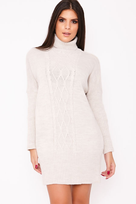 NANCY Beige Roll Neck Cable Knit Jumper Dress
