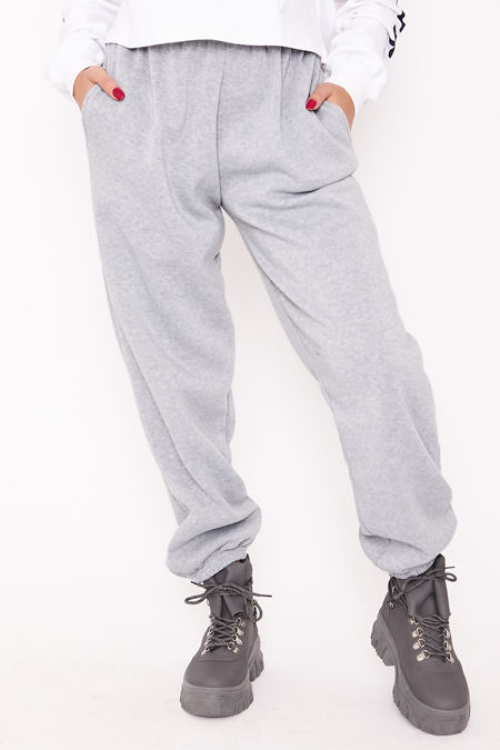 ELISE Grey Basic Cuffed Hem Casual Joggers
