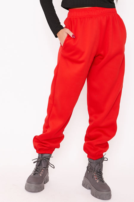 ELISE Red Basic Cuffed Hem Casual Joggers