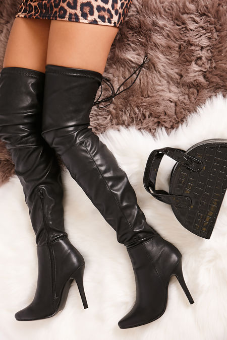 TEAGAN Black Faux Leather Thigh High Stiletto Boots