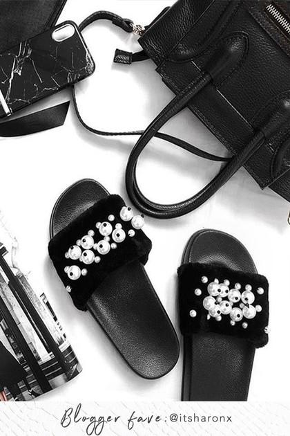 ABBIE BLACK Pearl Faux Fur Sliders