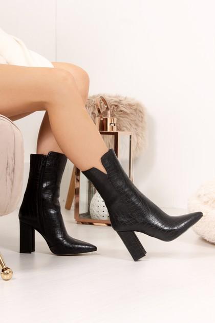 AGNES Black Croc Block Heel Ankle Boots