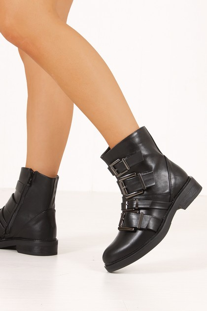AIMEE Black Multi Buckle Strap Ankle Boots