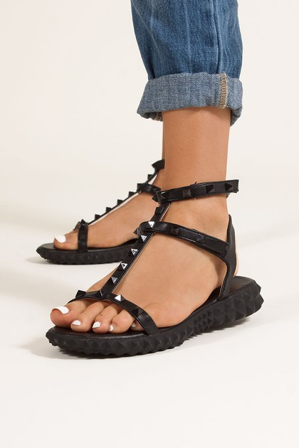 ALIYAH Black Studded Strap Sandals