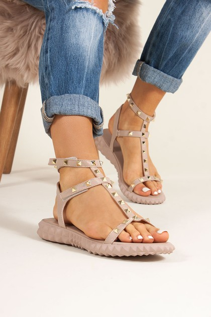ALIYAH Nude Studded Strap Sandals