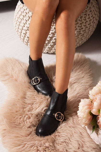 ALLY Black Buckle Strap Ankle Boots With Gold Ring
