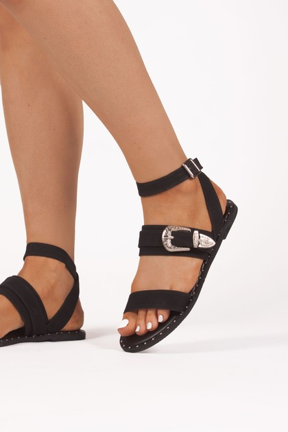 AMBER Black Buckle Detail Ankle Wrap Sandals
