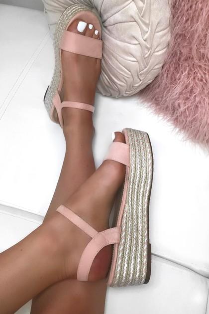 AMELIA Pink Espadrille Flatforms
