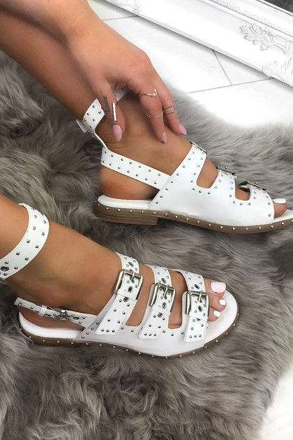 ANGEL White Buckle Sandals With Gold Detail