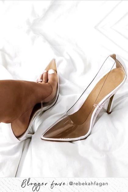 ANYA White Clear Court Heels