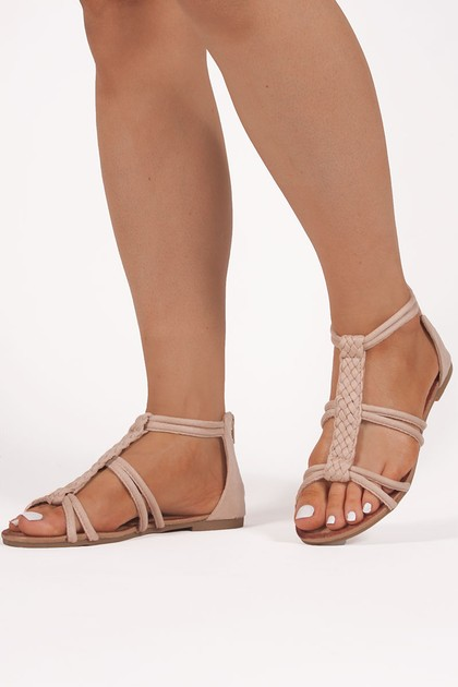 AVA Beige Plaited Rope Sandals