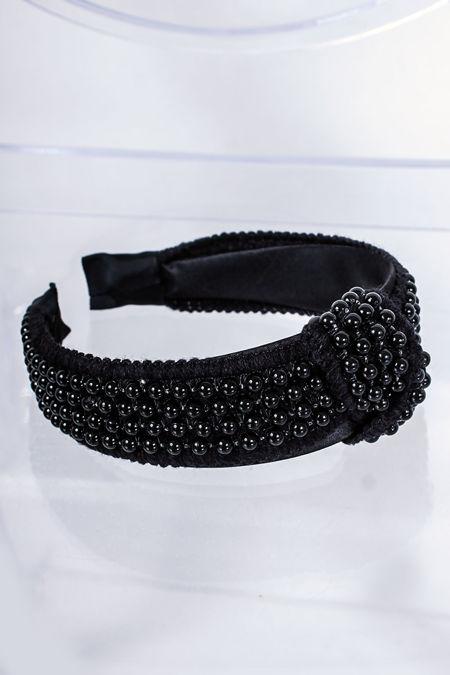 AVA Black Pearl Knot Headband