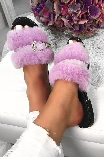 AZALEA Lilac Fluffy Buckle Sliders
