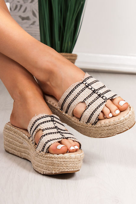 ALLY Woven Black Cut Out Strap Espadrille Flatforms