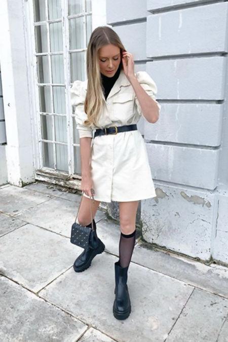 AMELIA Cream Puff Sleeve Belted Shacket Dress