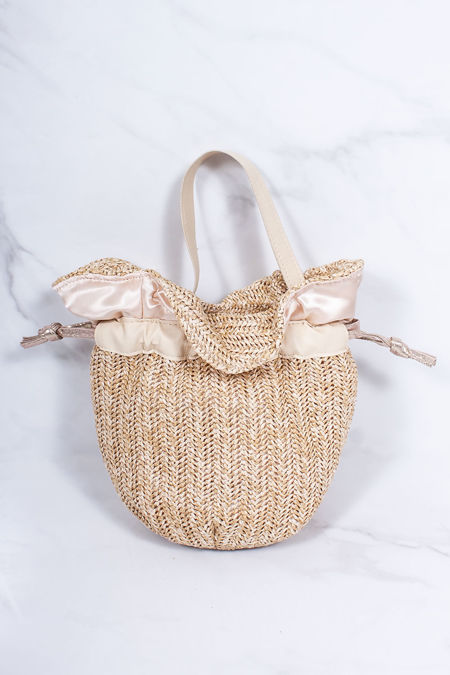 ALICE Beige Straw Bucket Bag