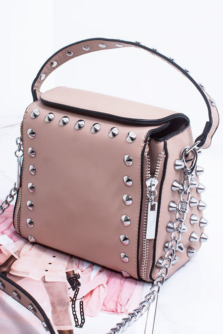 ZARA Nude Faux Leather Stud Detail Top Handle Crossbody Bag