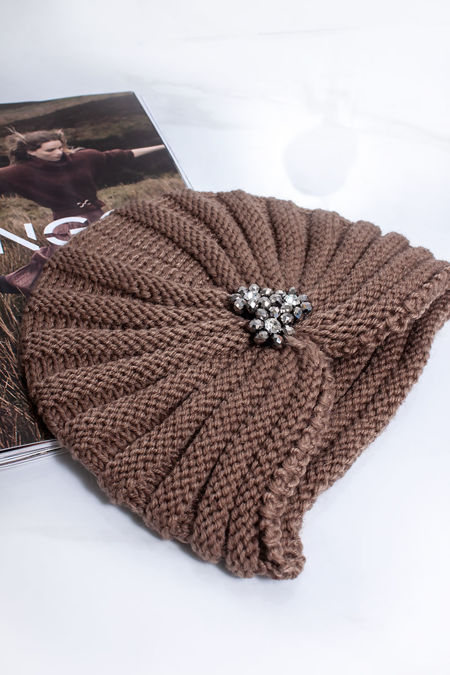 ADA Beige Embellished Turban Hat